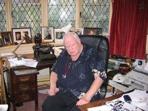 Photograph of Sir Patrick in his office at his home, Farthings, in Sussex 2006 (photo copyright David Clarke)
