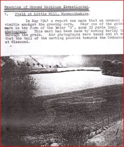 "Page from MI5 file showing ""unusual mark"" photographed in a Welsh farmer's field during 1941 (Credit: The National Archives)"