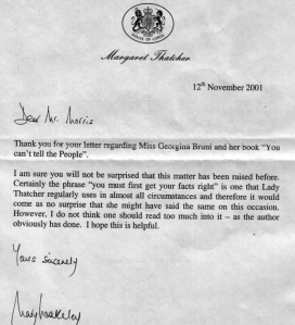 Extract from a letter sent by Margaret Thatcher's PA to UFOlogist Eric Morris in 2001 (author's collection)