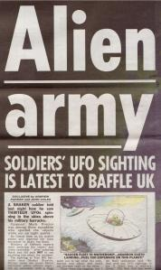 The Sun's pg 1 splash of 25 June 2008 reporting the Shropshire soldier's sighting