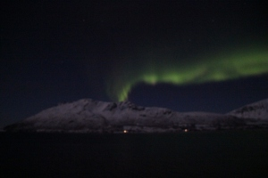 Display of the aurora seen from MS Midnatsol approx 10 miles north of Tromso from 8 pm on Saturday, 11 January 2014