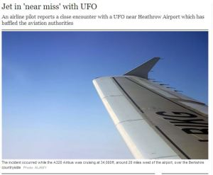 Sunday Telegraph report on UFO near miss