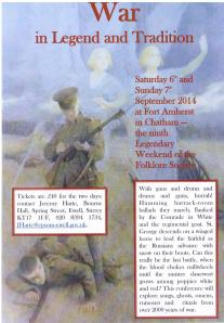 Flyer for the Folklore Society Legendary Weekend in September 2014
