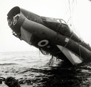 Wreckage of Captain Schaffner's lightning, as it was lifted from the seabed off Flamborough in 1970 (Credit: The National Archives DEFE 71/95)