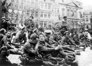 Soldiers from the 4th Battalion Royal Fusiliers prepare for the Battle of Mons on 23 August 1914 - the source of the legend of the 'Angels of Mons' (Credit: Imperial War Museum)