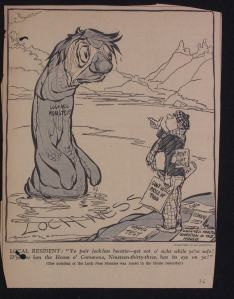 A Nessie cartoon from 1933  that appears in the Scottish Office file at The National Archives of Scotland (Crown Copyright)