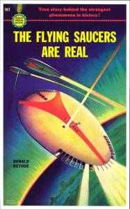cover of Donald Keyhoe's seminal 1950 book that set out the foundations of the UFO mythology