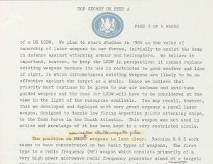 An extract from Michael Heseltine's Top Secret briefing on the Death Ray to Margaret Thatcher in 1983 (credit: The National Archives)