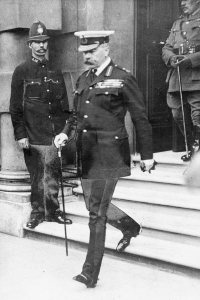 Lord Kitchener leaving the War Office in 1916 (credit: BBC)