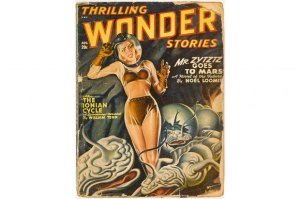 Alien encounters as depicted in Thrilling Wonder Stories 1948 (credit: MEPL)