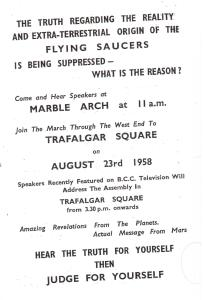 Another pamphlet from the Special Branch file. The beliefs express by this UFO religion in 1958-59 are similar to those promoted by members of the 'Disclosure Movement' founded by Steven Greer in the 1990s (Special Branch files)