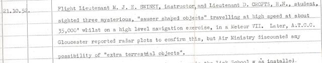 Extract from RAF Little Rissington logbook 1952 (credit: The National Archives, Crown Copyright)