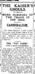 The Daily Express weighs in with its own 'corpse factory' propaganda, April 1917